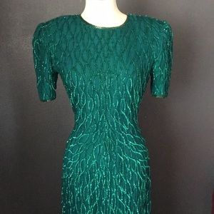 Vintage sequin dress size small emerald green